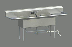 maya 3 compartment sink