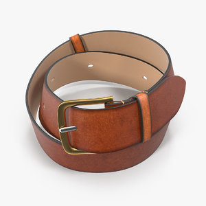 3D brown leather belt model