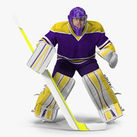 3D hockey goalkeeper fully equipped