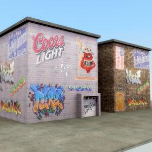 graffiti wall 3d model