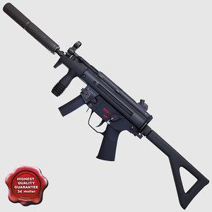 realistic submachine gun pdw c4d