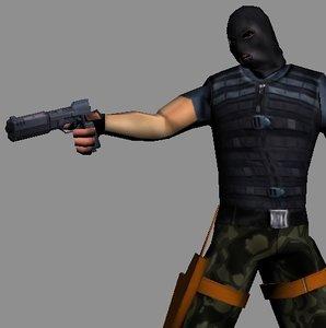 Soldier terrorist lo-poly