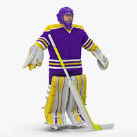 3D model hockey goalkeeper fully equipped
