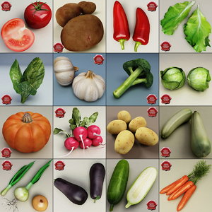 vegetables set potato 3d model
