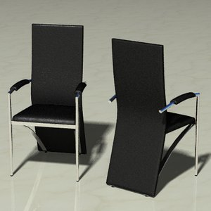 3d model leather chrome chair