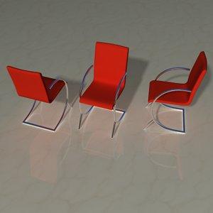 leather chrome chair 3d model