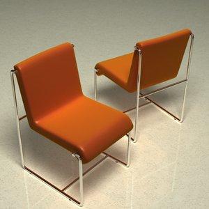 leather chrome chair 3d lwo