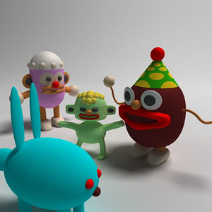 3d model of cephalopod family cartoon characters