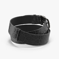3D black mock croc leather