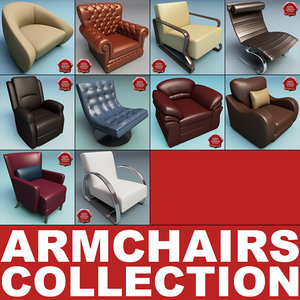 armchairs modelled 3d model