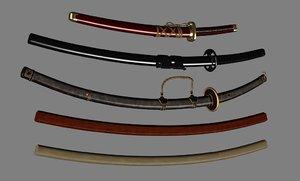 3d model japanese swords scn