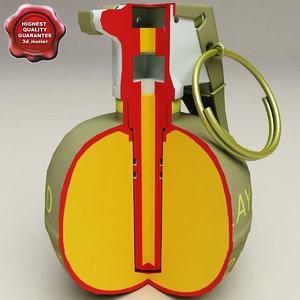 m67 grenade cut away 3d max