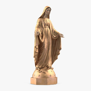 madonna virgin mary golden 3D model
