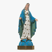 virgin mary statue painted 3D model