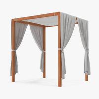 3D wooden outdoor canopy model