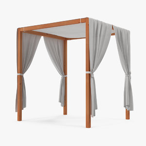 3D wooden outdoor canopy model