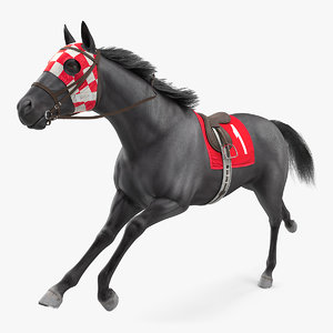 3D running racing horse fur