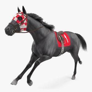 3D running racing horse fur