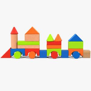 train wooden building blocks 3D model