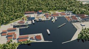 3D port ship model