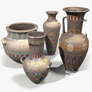 3D ready egyptian vases model