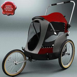 pet bicycle trailer v2 3d model