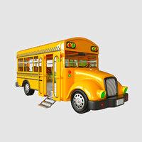 rigged cartoon bus 3D