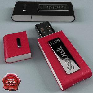 3d model usb flash drive sandisk