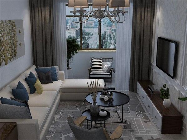 interior living room decorative 3D model