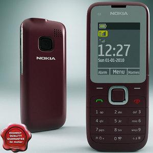 nokia c2 00 red 3d model