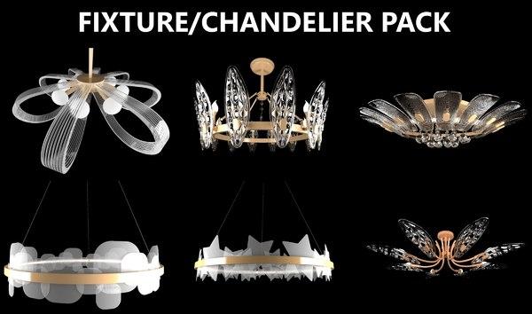 3D fixtures chandeliers light interior model