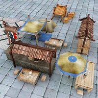 low-poly chinese market 3D model