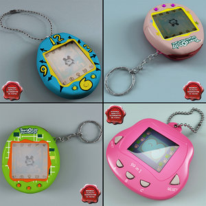 3d model tamagotchi set modelled
