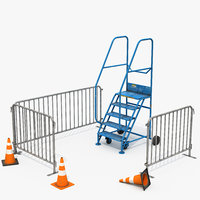 3D maintenance wheeled ladder barriers