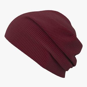 knit cap red 3D model