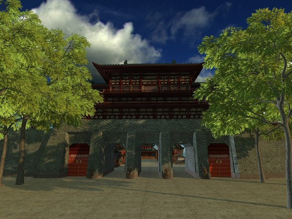 medieval chinese fortress gate 3D