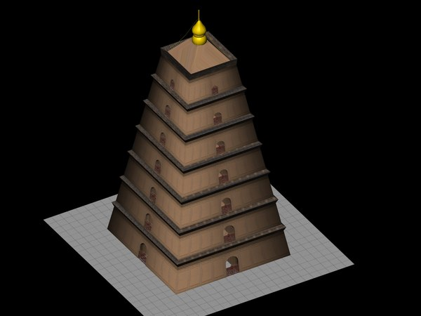 3D low-poly temple tower