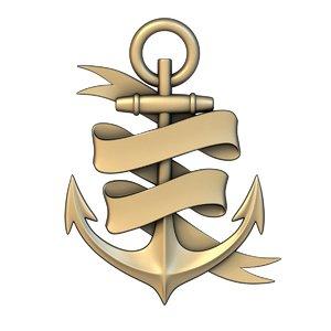 cnc basrelief sea anchor 3D model