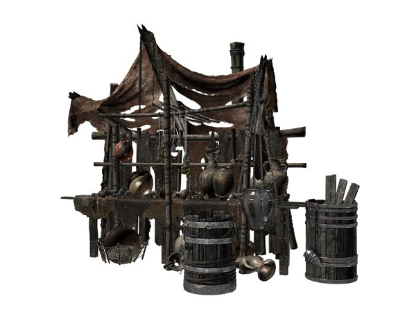 photorealistic medieval trade tent 3D model