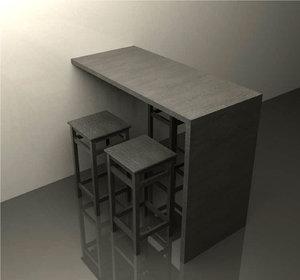 bar stools 3d 3ds