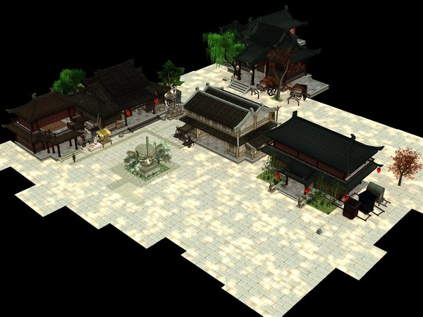 3D low-poly medieval asian yard