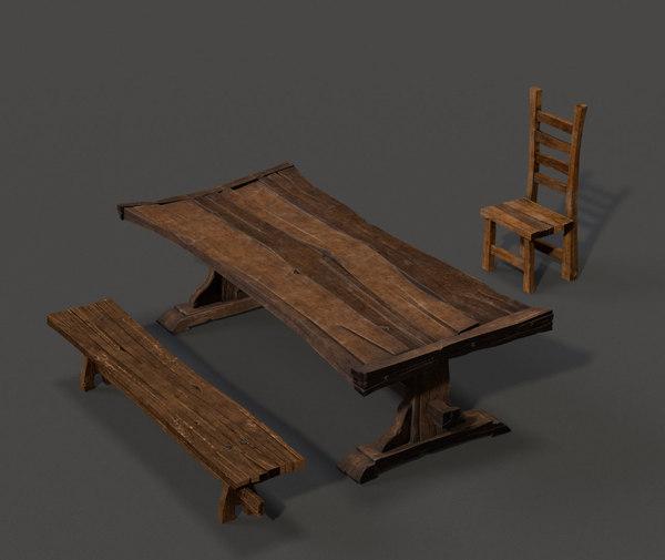 3D medieval table set
