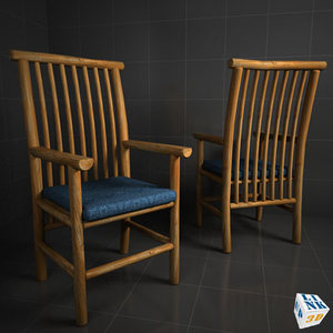 wood chair adirondack 3d model