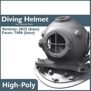 3d old diving helmet model