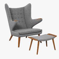 3d papa bear chair ottoman