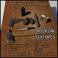 3D model survival kit combat
