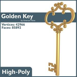 key golden gold 3d model