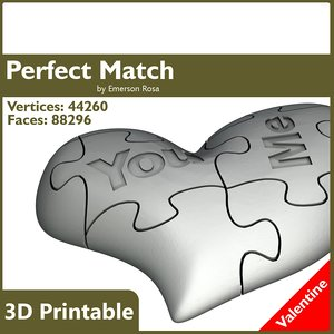 Valentine 3D Printable - Perfect Match Heart
