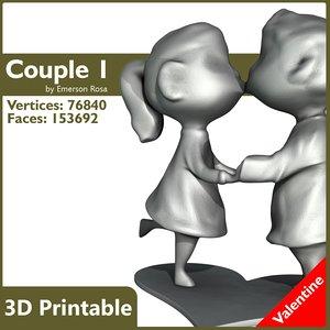 3d model couple valentine print