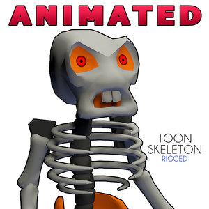 toon skeleton rigged cartoon 3d dxf
